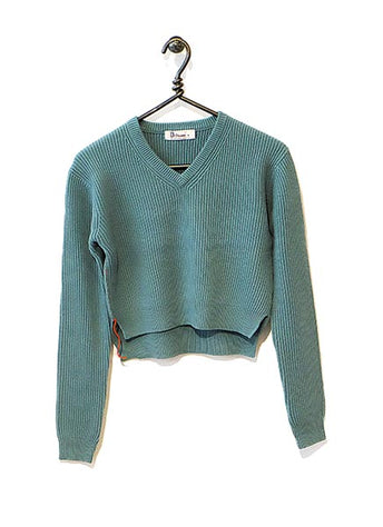 Cotton Cashmere Sweater Cropped - Lagoon