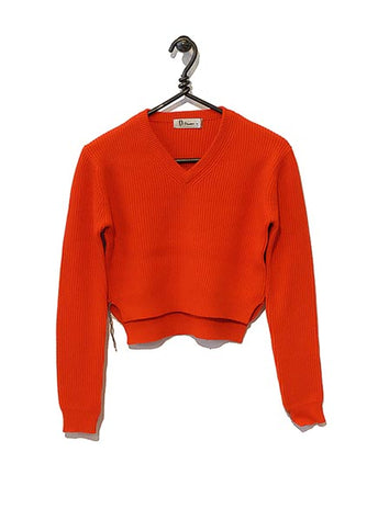 Cotton Cashmere Sweater Cropped - Red