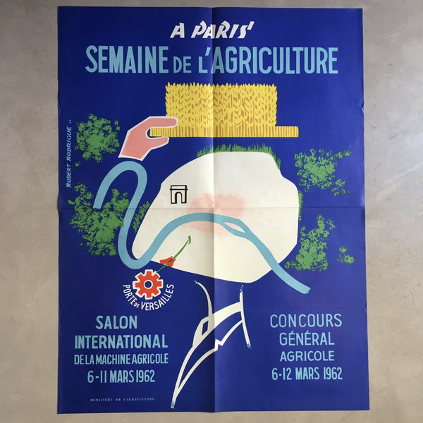 Affiche originale Salon de l'Agriculture 1962 Robert Rodrigue