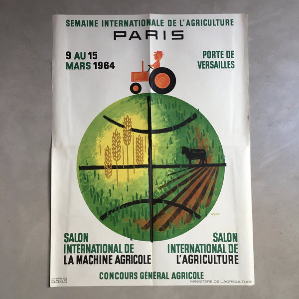 Affiche originale 1er Salon International de l'Agriculture de Seguin 1964