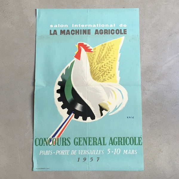 Affiche originale Salon International de la Machine Agricole 1957 ERIC