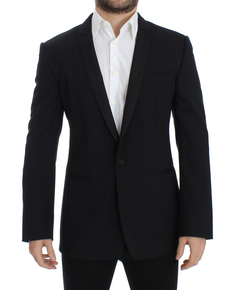 Image of Dolce & Gabbana Black wool stretch slim fit blazer