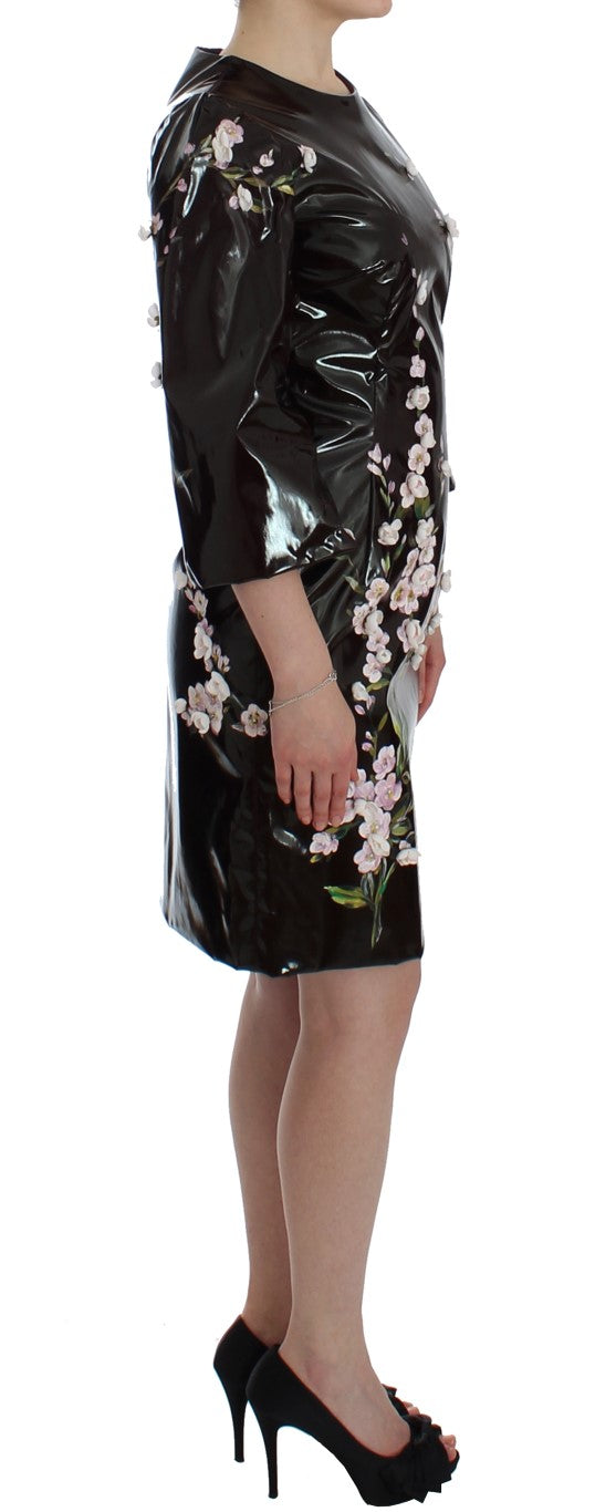 Dolce & Gabbana Black floral 3/4 Sleeve sheath dress - Azura Runway