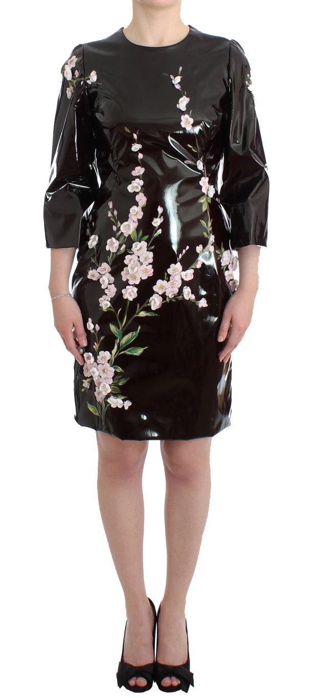 Image of Dolce & Gabbana Black patent floral HANDPAINTED dress