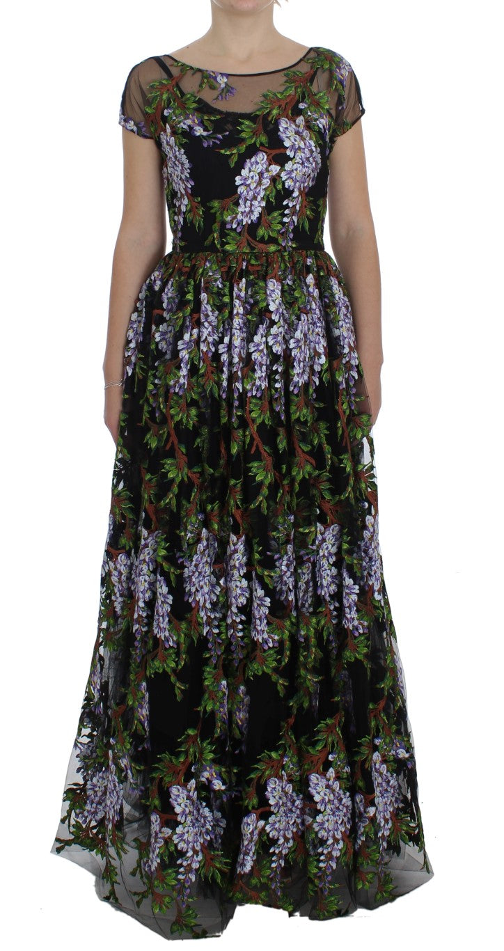 Image of Dolce & Gabbana Black Floral Embroidered Full Maxi Dress