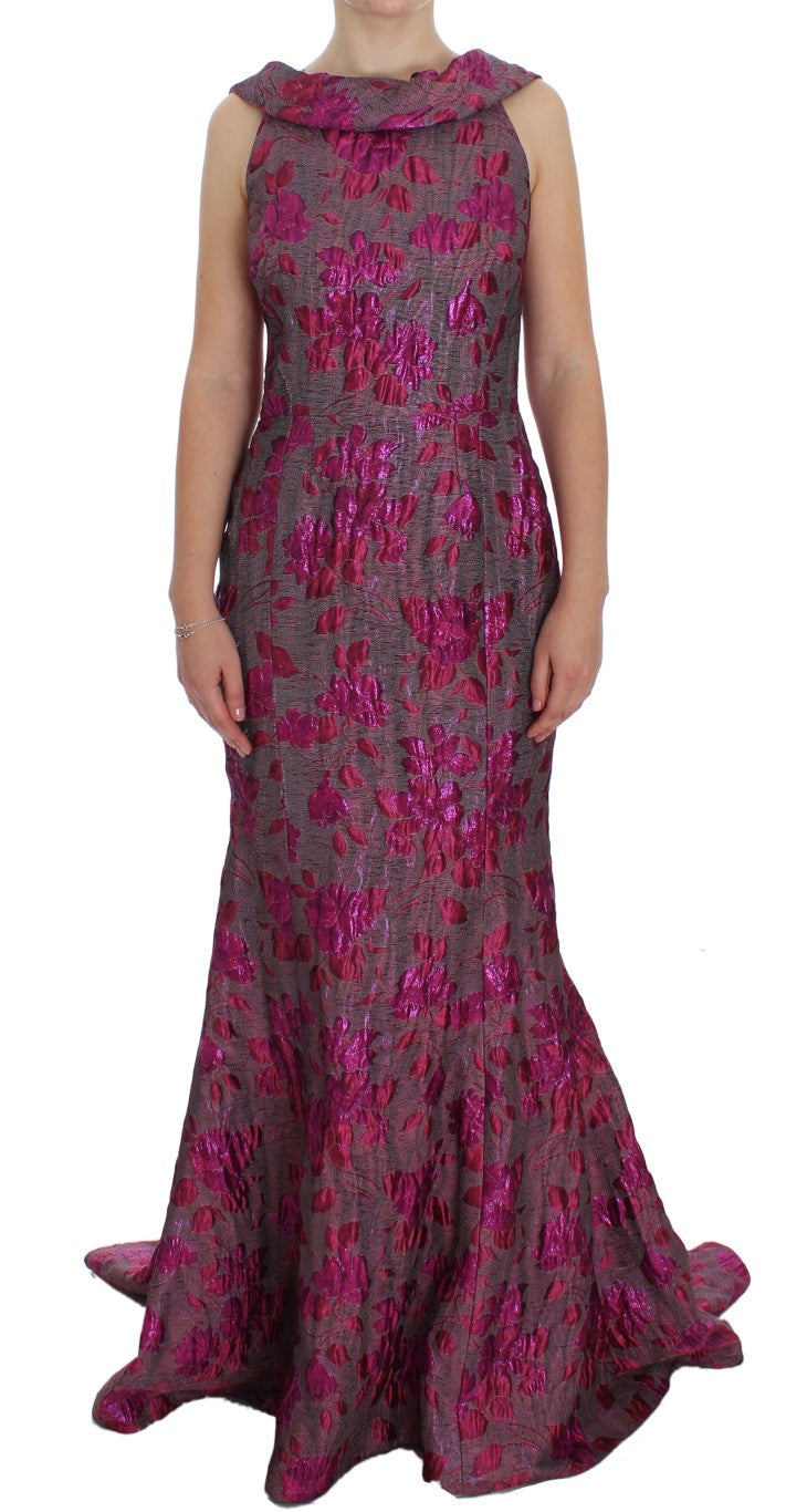 Image of Dolce & Gabbana Pink Floral Brocade Sheath Gown Dress