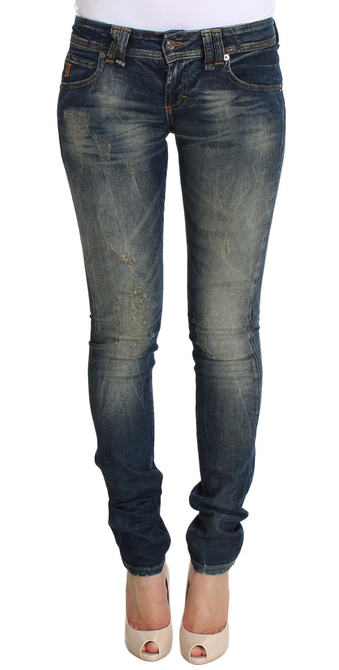Image of Galliano Blue Wash Skinny Low Cotton Stretch Denim Jeans