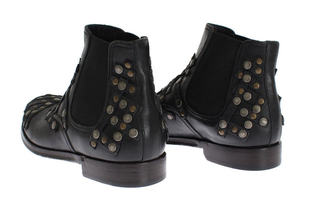 Dolce & Gabbana Black Leather Gold Studded Shoes Boots - Azura Runway