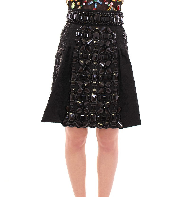 Image of Dolce & Gabbana Black Crystal Handmade Above Knee Skirt