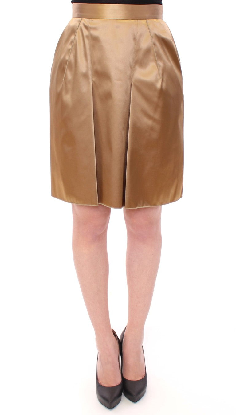 Image of Dolce & Gabbana Gold Stretch Above Knee Zipper Skirt