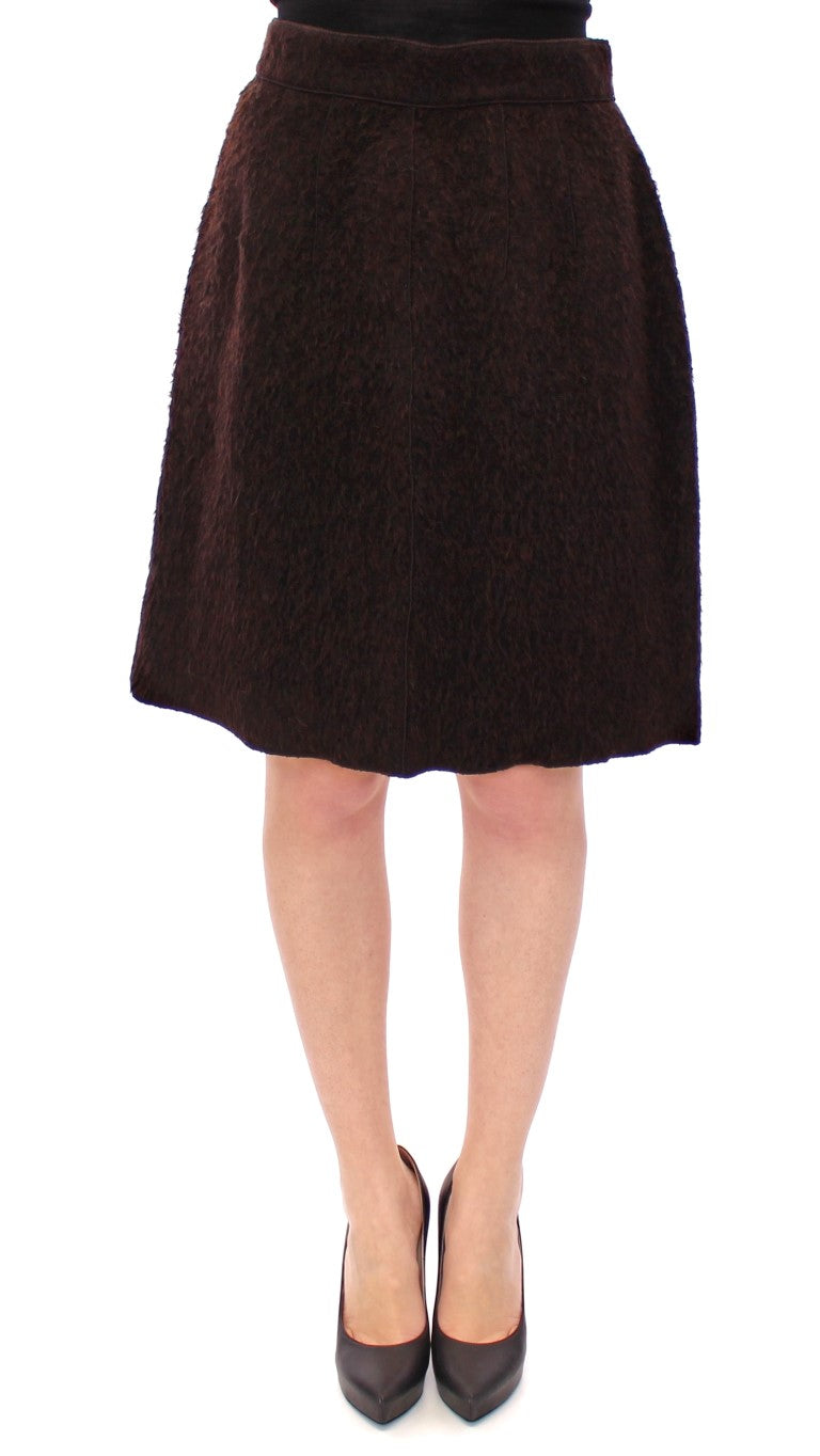 Image of Dolce & Gabbana Brown Fur Above Knee Zipper Skirt