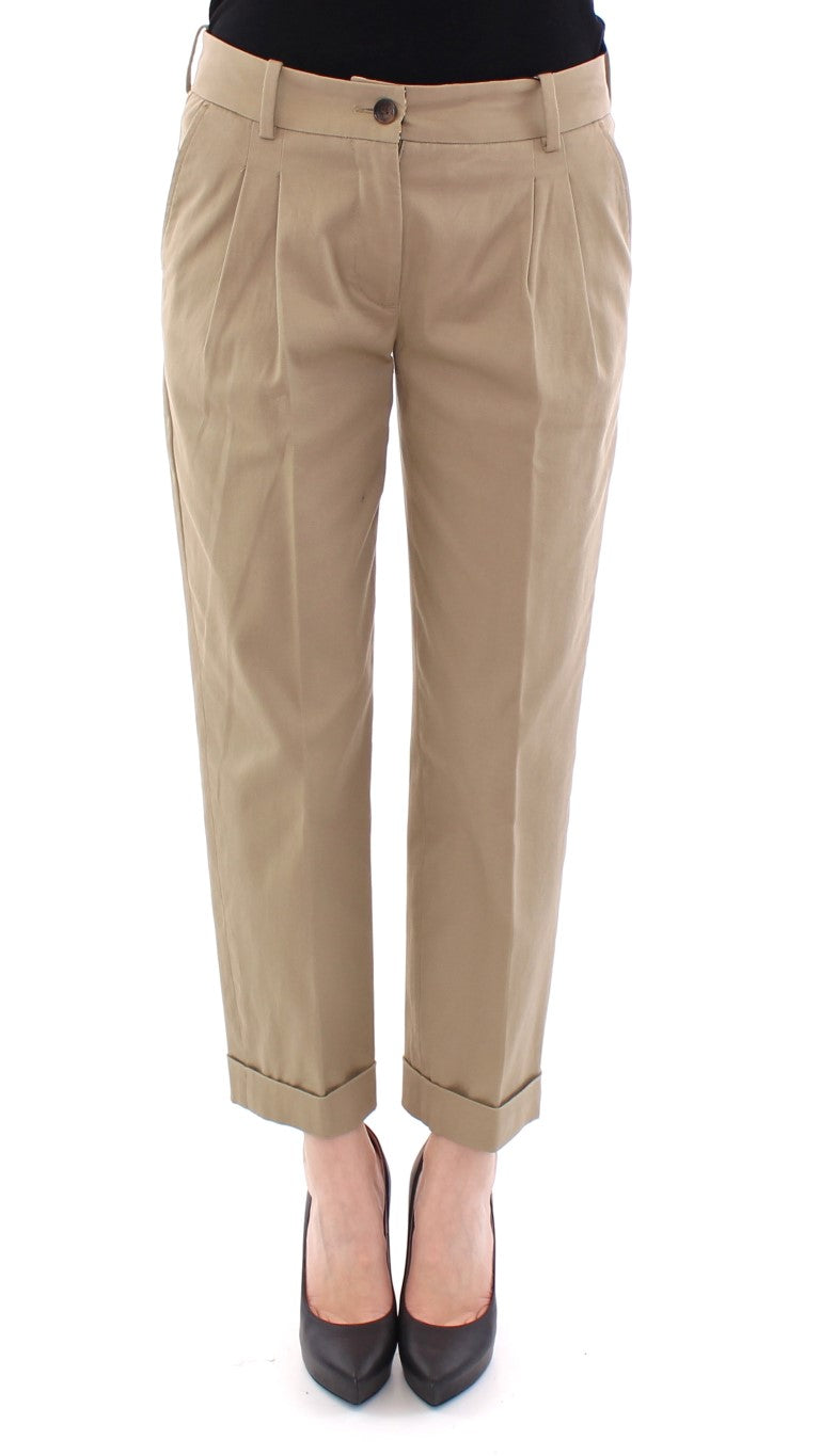 Image of Dolce & Gabbana Beige Cotton Cropped Chinos Pants