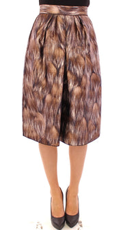 Dolce & Gabbana Brown Floral Silk Straight Full Skirt - Azura Runway