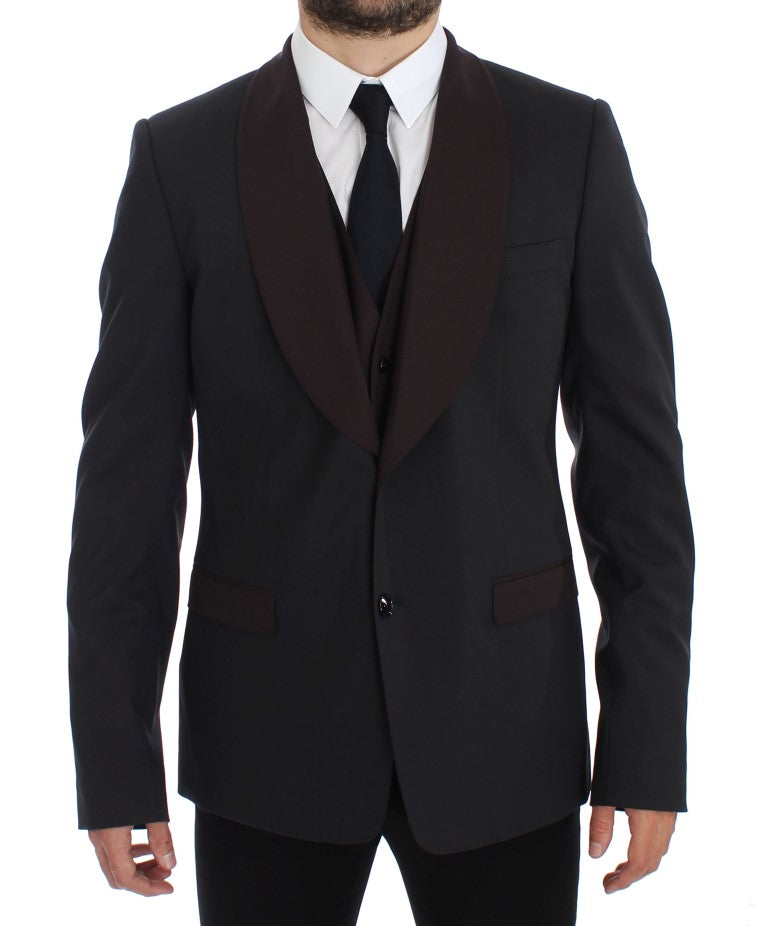 Image of Dolce & Gabbana Gray Bordeaux Wool Stretch Blazer Jacket