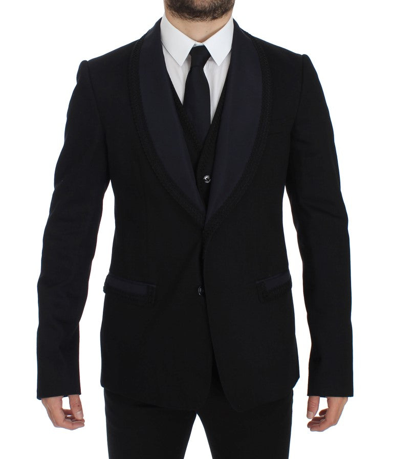Image of Dolce & Gabbana Black Torero Slim Fit Stretch Blazer
