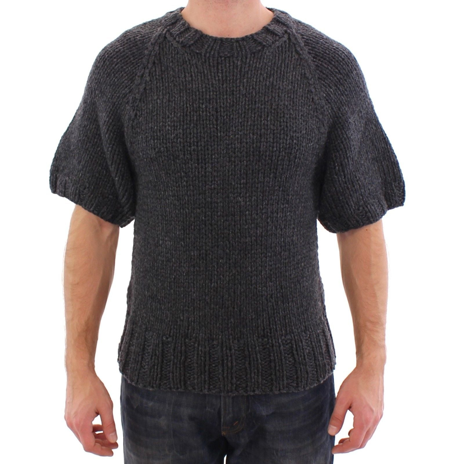 Image of Dolce & Gabbana Gray Cashmere Knitted Shortsleeved Sweater