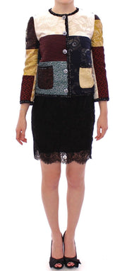 Dolce & Gabbana Patchwork Baroque Crystal Jacket Coat - Azura Runway