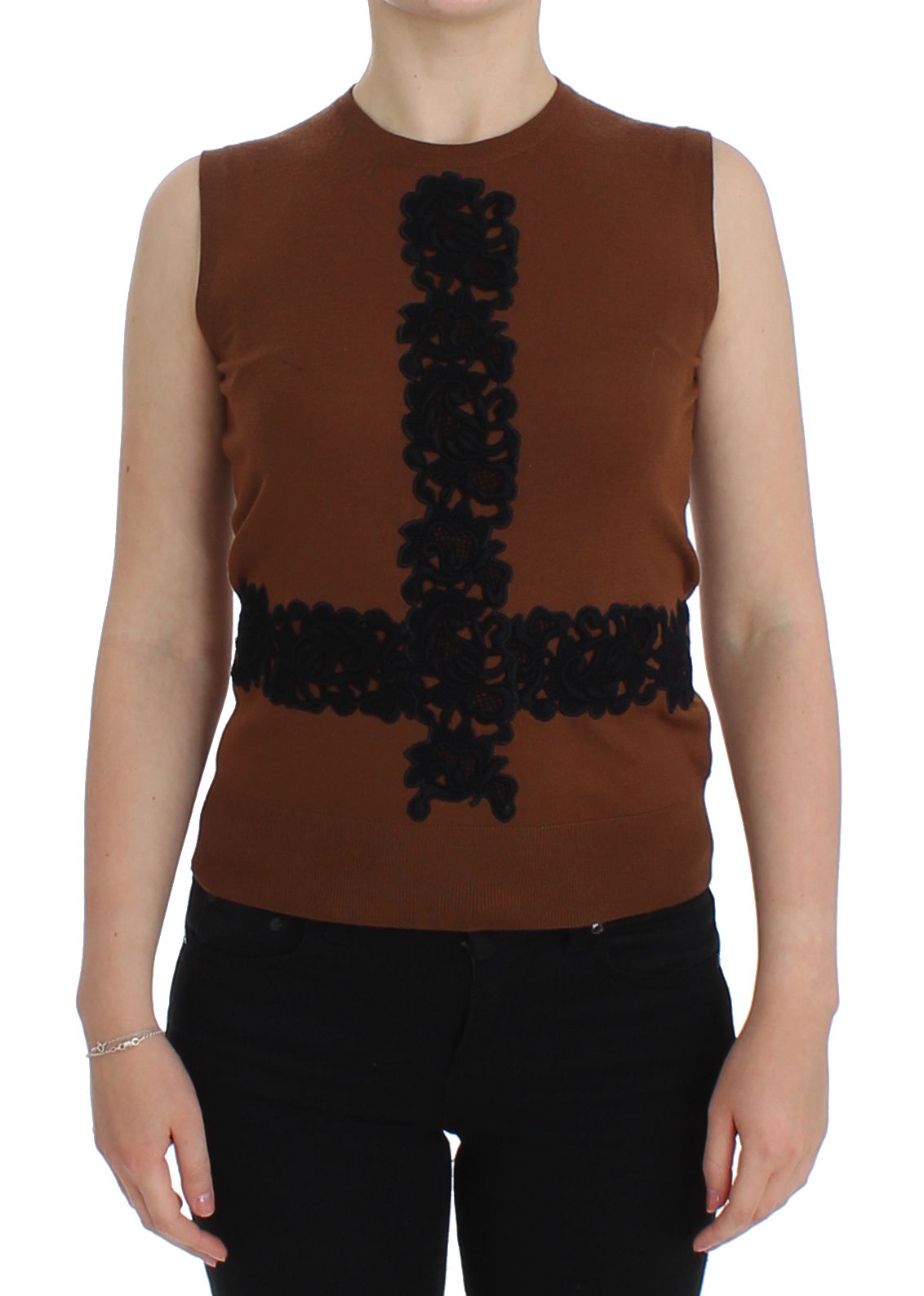 Image of Dolce & Gabbana Brown Wool Black Lace Vest Sweater Top