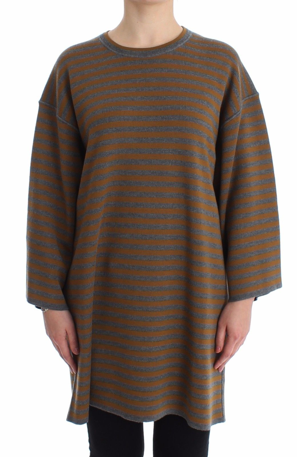 Image of Dolce & Gabbana Oversized Gray Yellow Striped Sweater Top