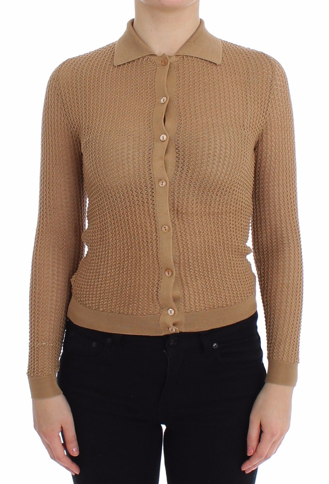 Image of Dolce & Gabbana Beige Knitted Cotton Polo Cardigan Sweater