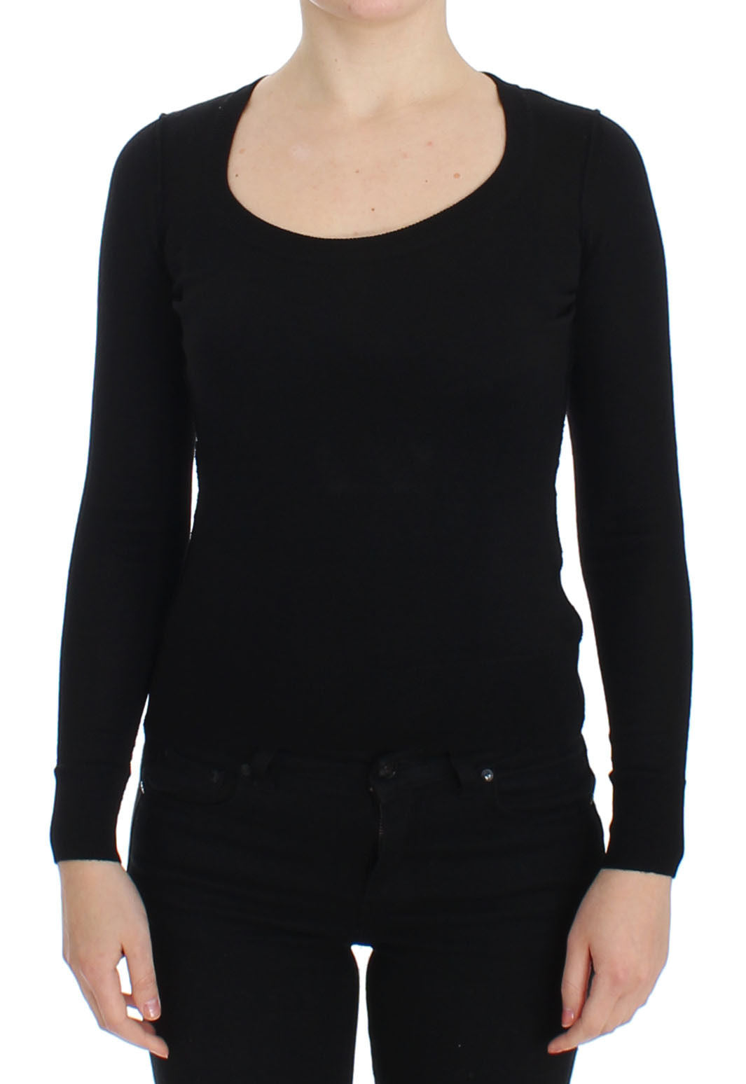 Image of Dolce & Gabbana Black Wool Crewneck Sweater Pullover Top