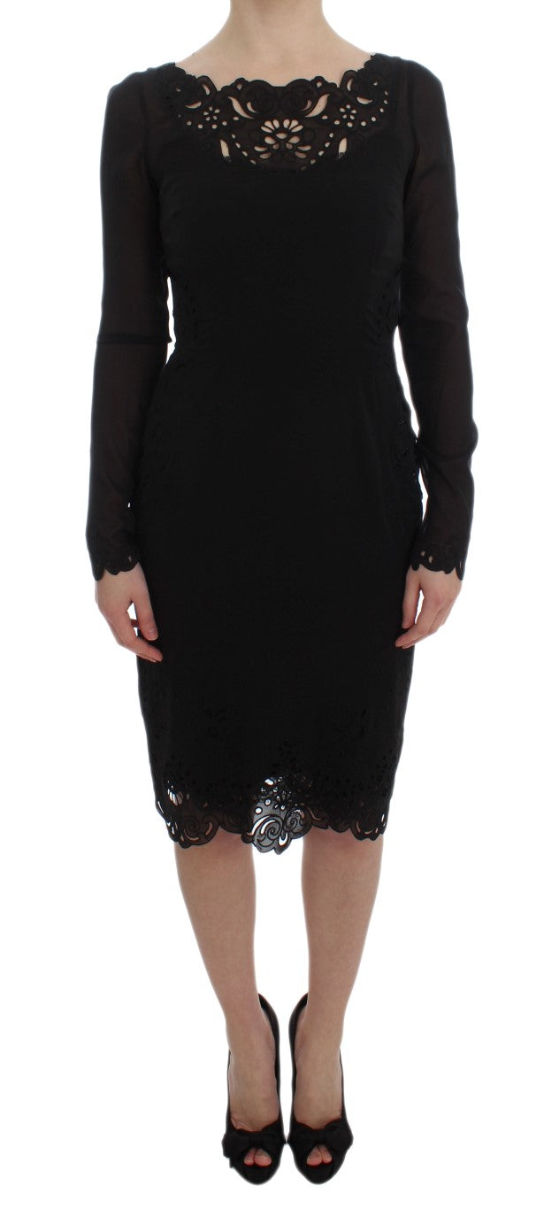 Image of Dolce & Gabbana Black Silk Stretch Sheath Dress