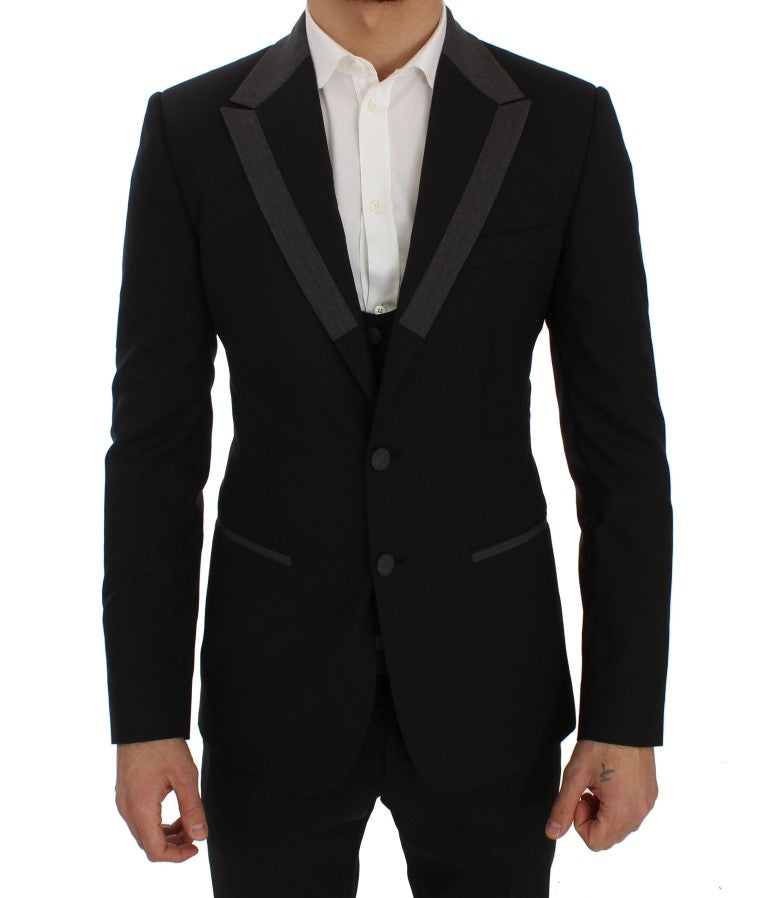 Image of Dolce & Gabbana Black Wool Stretch Slim Blazer Jacket
