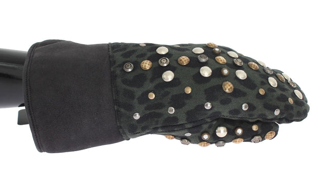 Dolce & Gabbana Gray Wool Shearling Studded Green Leopard Gloves