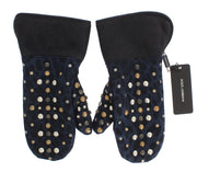 Dolce & Gabbana Gray Wool Shearling Studded Blue Leopard Gloves