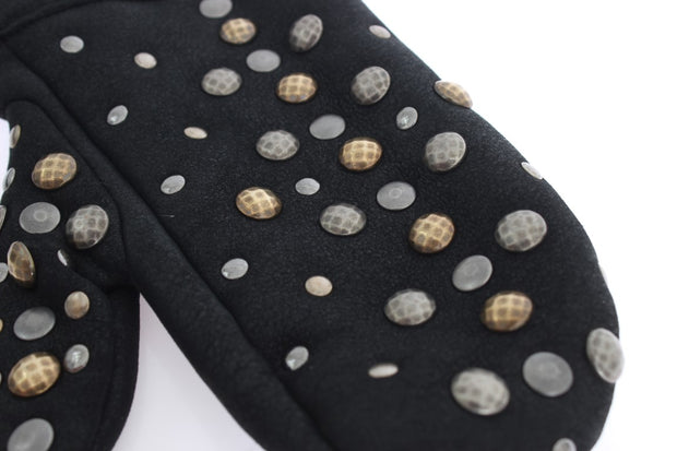 Dolce & Gabbana Gray Wool Shearling Studded Gloves