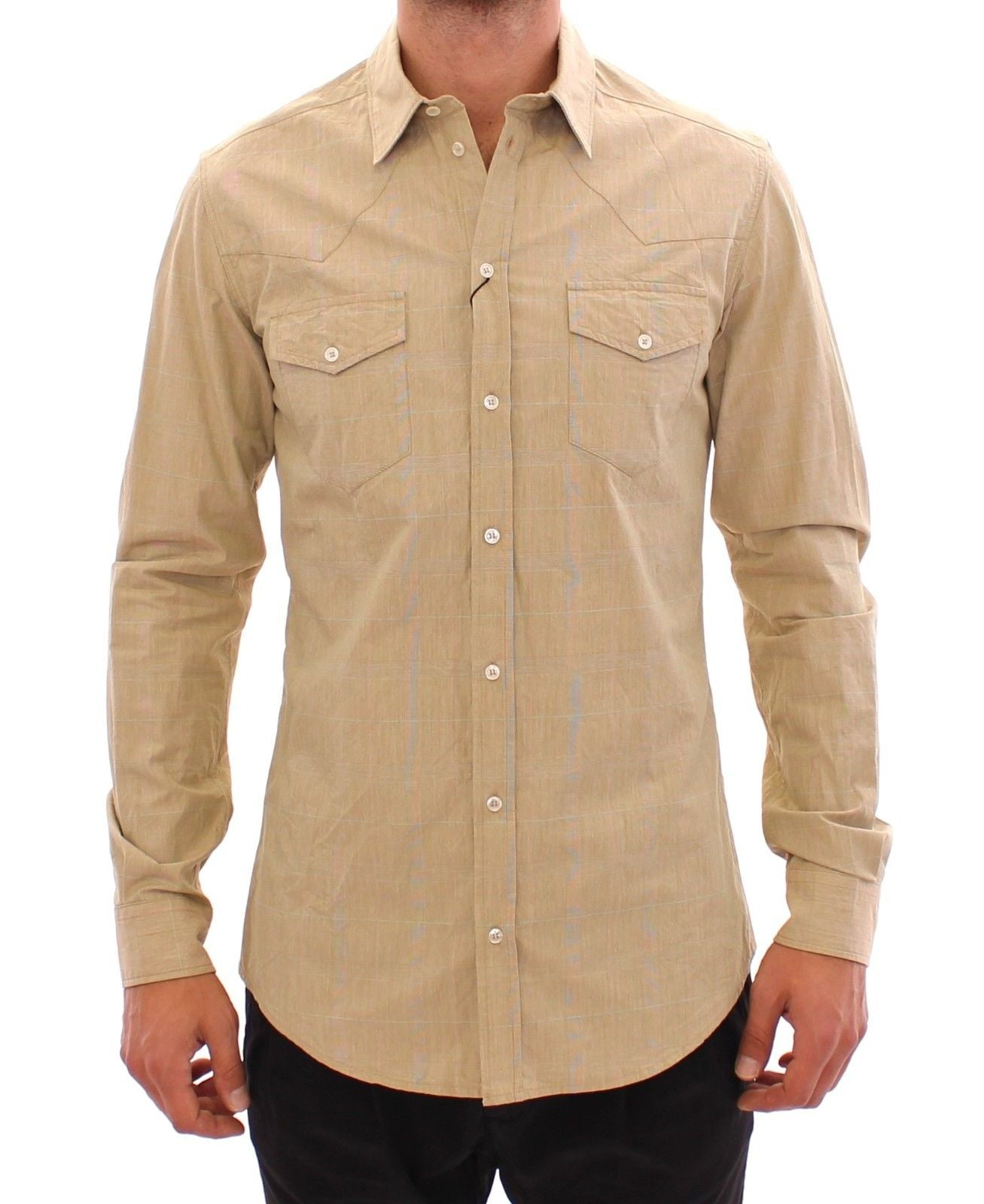 Image of Dolce & Gabbana Beige Checkered SICILIA Fit Logo Casual Shirt