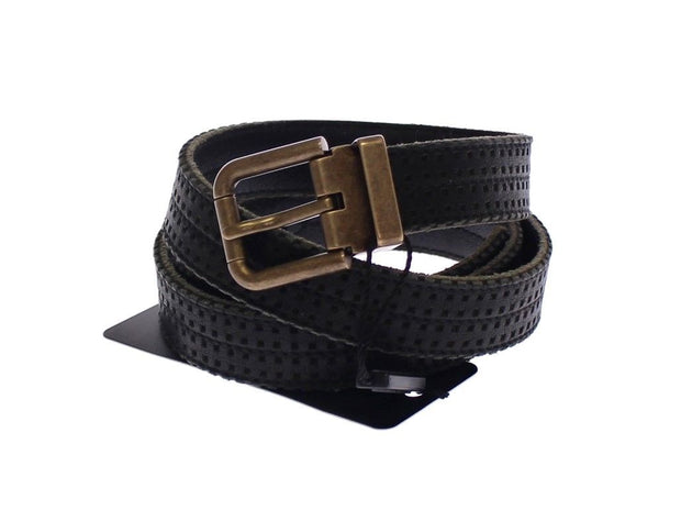 Dolce & Gabbana Blue Leather Logo Belt - Azura Runway