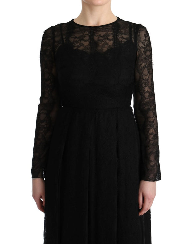 Dolce & Gabbana Black Floral Lace Sheath Silk Dress - Azura Runway