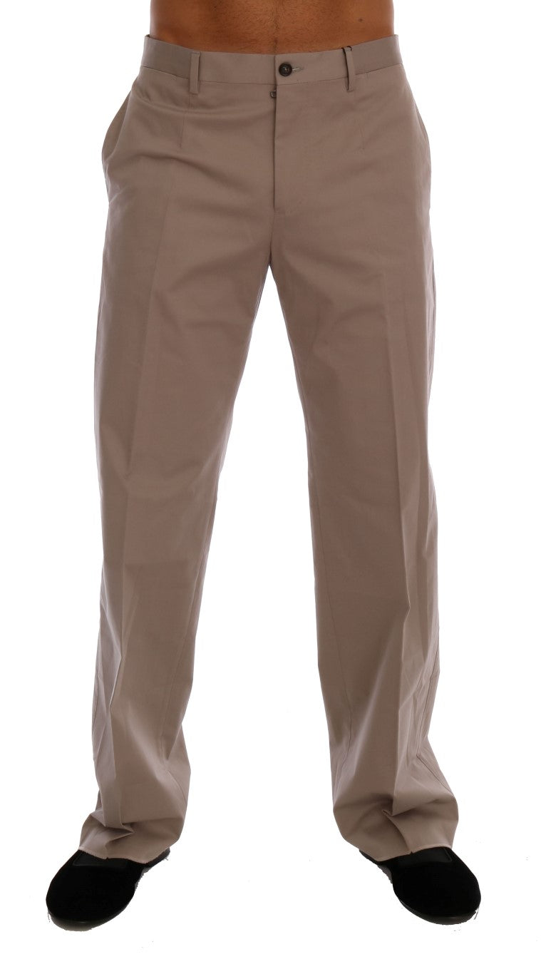Image of Dolce & Gabbana Beige Cotton Stretch Chinos Pants