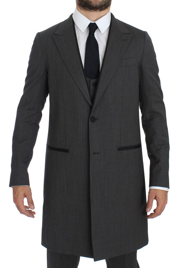 Dolce & Gabbana Gray Wool Stretch 3 Piece Long Blazer Suit - Azura Runway