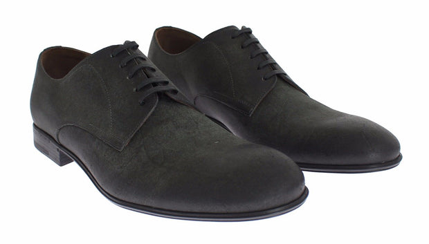 Dolce & Gabbana Mens Green Leather Dress Formal Derby Shoes - Azura Runway