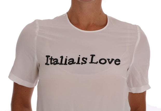 Dolce & Gabbana White Silk ITALIA IS LOVE Blouse T-shirt - Azura Runway