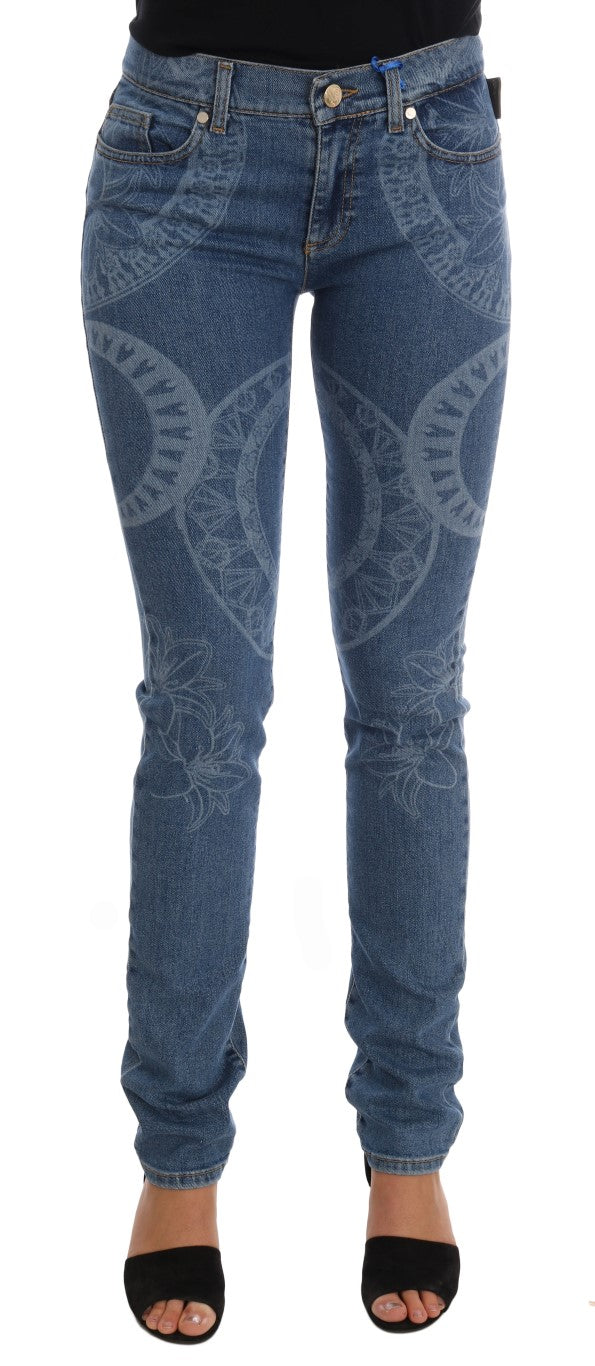 Image of Versace Jeans Blue Wash Print Stretch Slim Fit Jeans