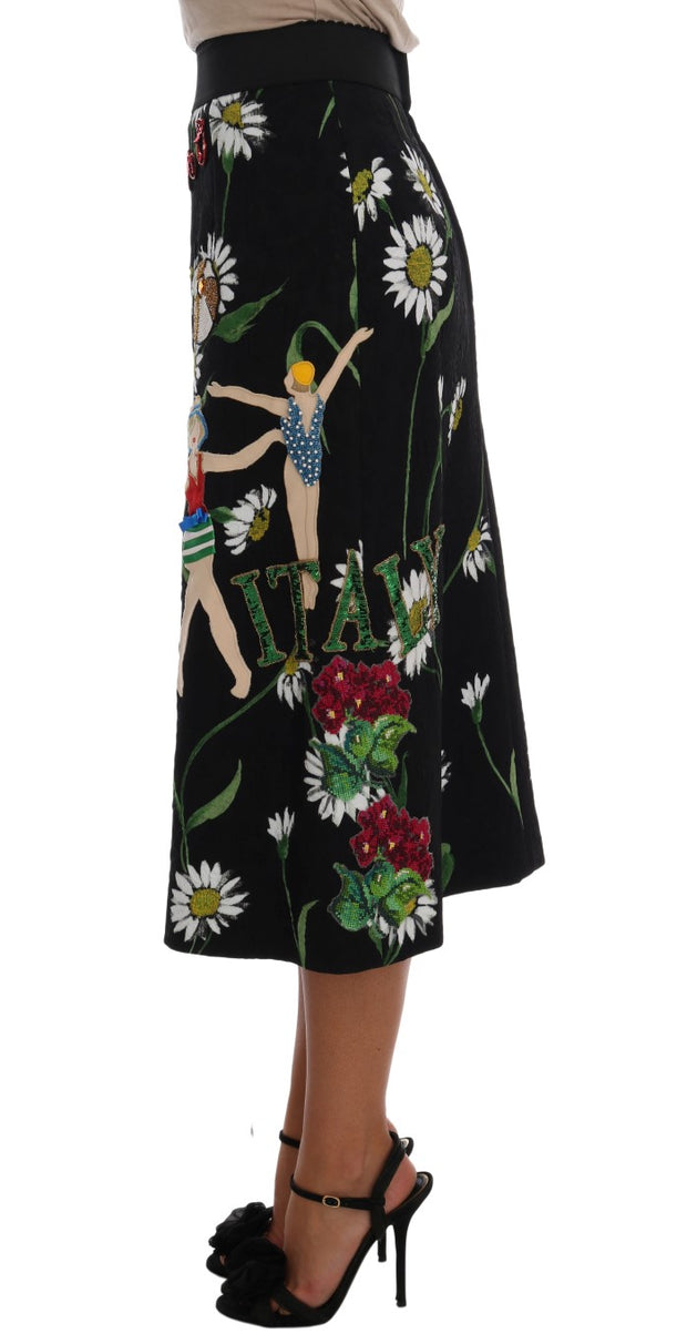 Dolce & Gabbana Black Embellished Daisy Brocade Skirt