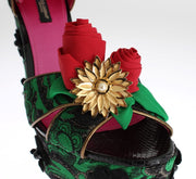 Dolce & Gabbana Green Brocade Snakeskin Roses Crystal Shoes