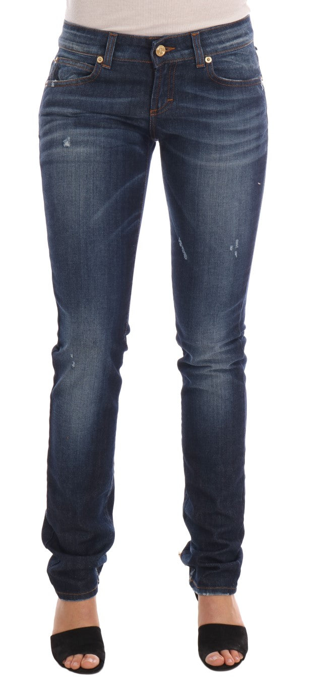 Image of Galliano Blue Wash Cotton Stretch Skinny Low Jeans