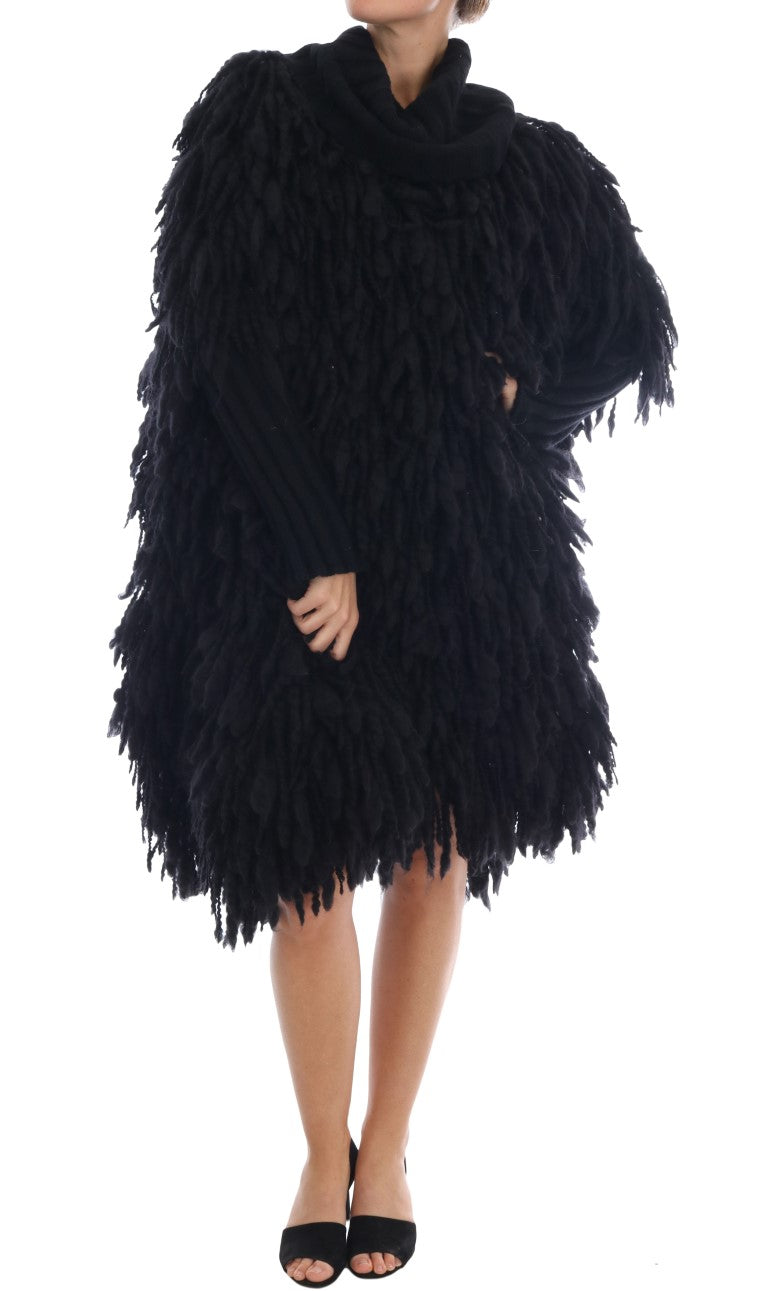 Image of Dolce & Gabbana Black Fringes Wool Pullover Sweater