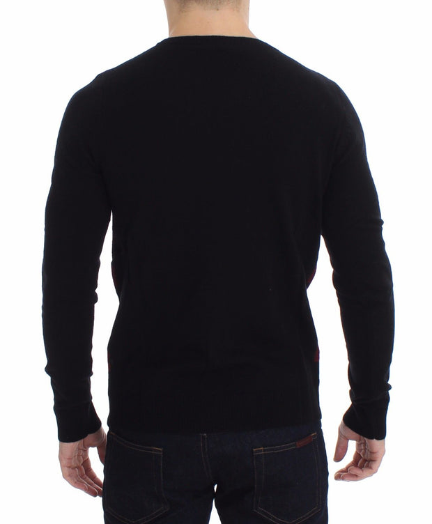 Costume National Red Black Wool Crewneck Sweater - Azura Runway