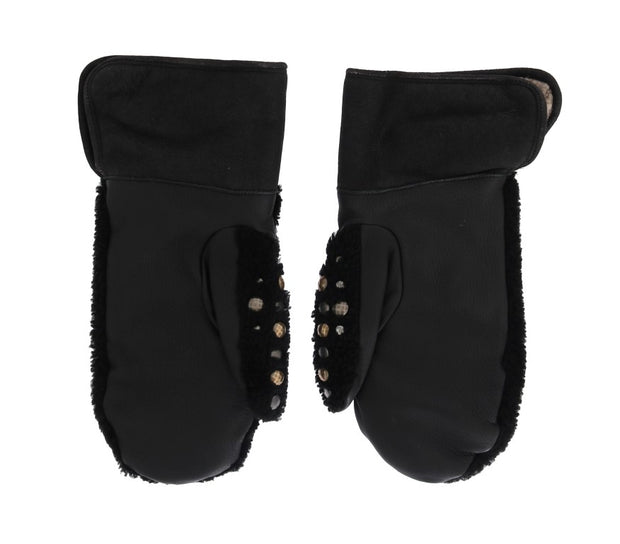 Dolce & Gabbana Black Leather Shearling Studded Gloves