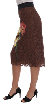 Dolce & Gabbana Brown Floral Lace Pencil Skirt - Azura Runway