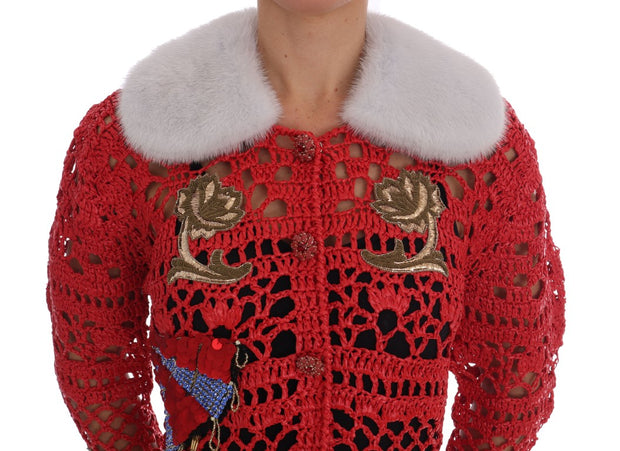 Dolce & Gabbana Red Fairy Tale Fur Crystal Cardigan Sweater - Azura Runway