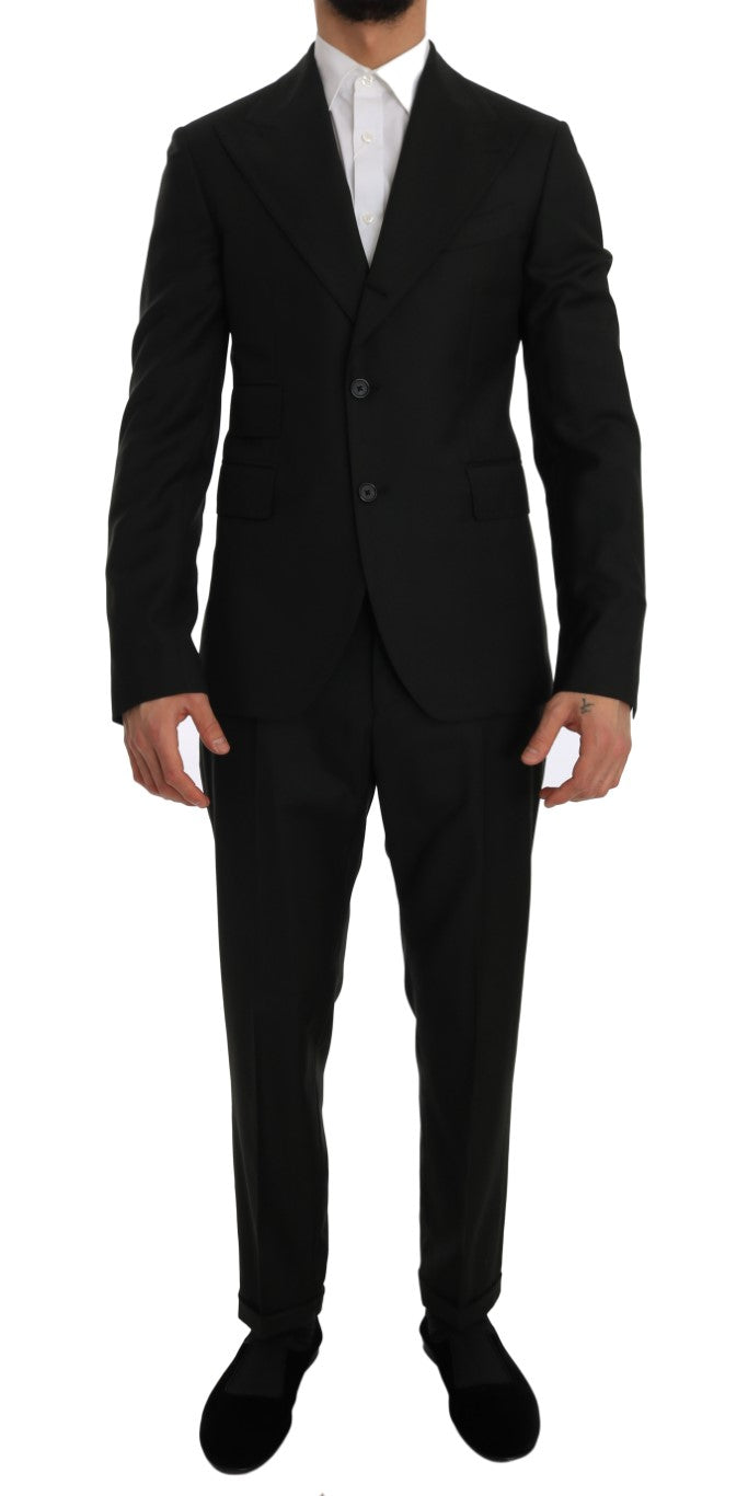 Image of Dolce & Gabbana Green Wool Two Button Slim Fit Blazer Suit