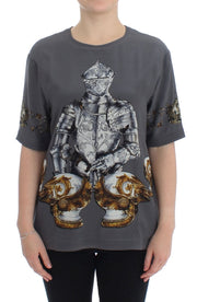 Dolce & Gabbana Gray Knight Crown Print Silk Blouse Top - Azura Runway