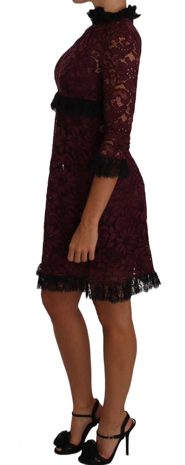 Dolce & Gabbana Black Floral Lace Burgundy Gown Mock Collar Dress - Azura Runway
