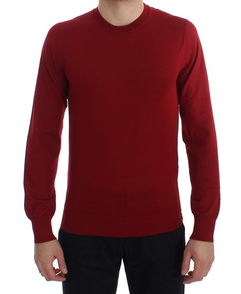 Image of Dolce & Gabbana Red Cashmere Crew-neck Pullover Sweater